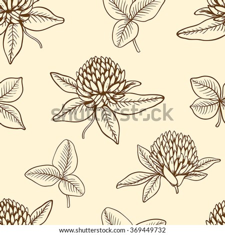 Decorative seamless pattern with clover flowers and leaves - stock vector