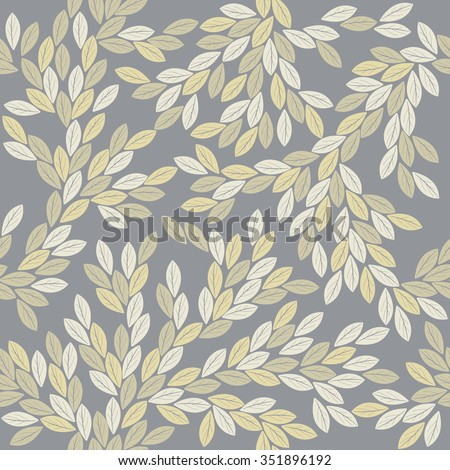 Decorative seamless pattern with elegant leaves.  Perfect background for handicraft, linen, card, wallpaper, folk art and more creative designs. - stock vector