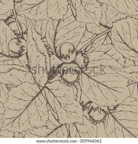 Decorative seamless pattern with hazelnuts and leaves in vintage style. Background for fabric design, gift wrapping paper and printing and web projects