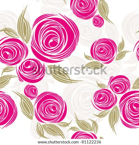 decorative seamless pattern with roses - stock vector