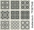 decorative seamless patterns, abstract floral design elements - stock vector