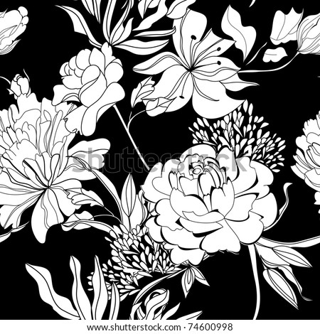 Decorative seamless wallpaper with white flowers on black background - stock vector