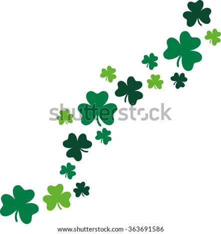 Decorative shamrocks diagonal St. Patrick's Day  - stock vector