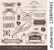 Decorative shapes for wedding invitations, restaurant menus or wine cards. Collection of vintage calligraphic design elements and vector page decorations. - stock vector