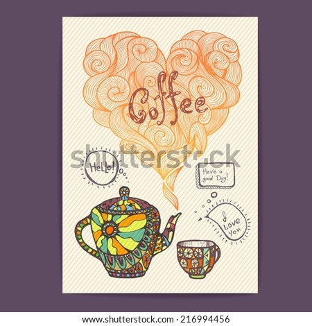 decorative sketch of cup of coffee and teapot - stock vector