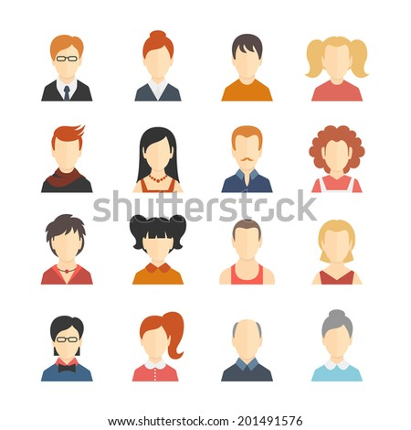 Decorative social media business blog users profile avatar trendy hairstyle design icons collection isolated flat vector illustration - stock vector