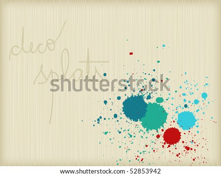 Decorative splats, striped background - stock vector
