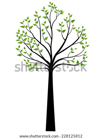 Decorative Spring Tree Silhouette With Green Leaves - stock vector