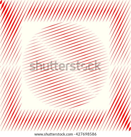 Decorative square frame with symmetric geometric ornament in the center. Red sharp lines and round spheres abstract background. 3d optical illusion effect wallpaper. Vector illustration