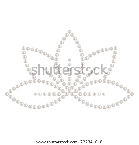Decorative sticker lotus flower shape made stock vector 722341018 decorative sticker of lotus flower shape made of white pearl can be used as applique mightylinksfo