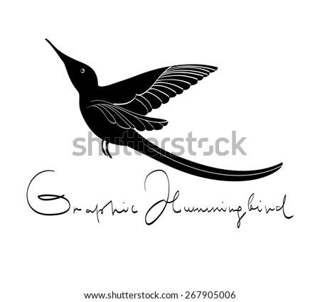 Decorative stylized hummingbird on white background - stock vector