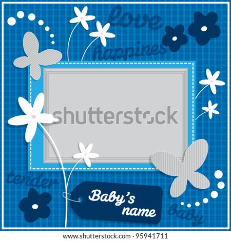Decorative template frame design for baby photo and memories, scrapbook concept, vector illustration - stock vector