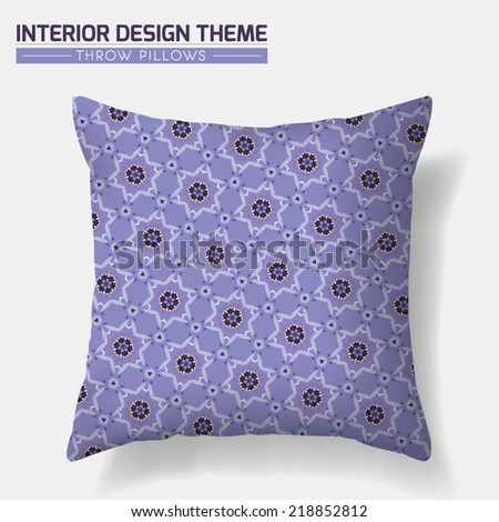 Decorative Throw Pillow design in Violet. Original geometric seamless pattern is complete masked. Interior design element, accent. Creative Sofa Pillow. Editable eps10 file contains the pattern swatch - stock vector