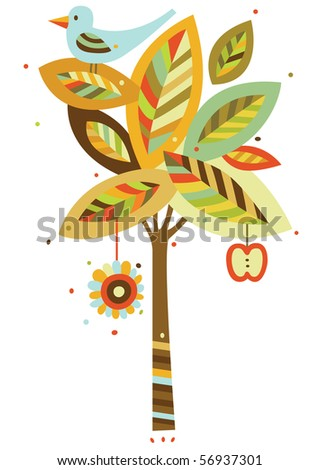 Decorative tree and bird in contemporary style. - stock vector