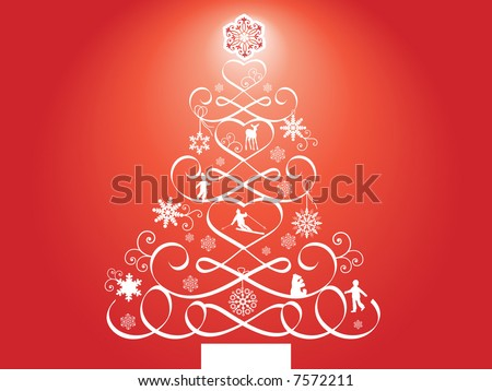 decorative tree with elements in the branches - stock vector