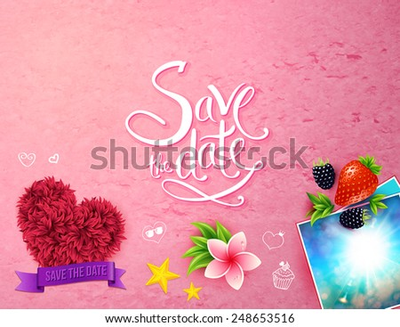Decorative tropical Save The Date template with a purple banner over a floral heart, a pink frangipani flower and images of summer sunshine with fresh berries on a textured pink background - stock vector