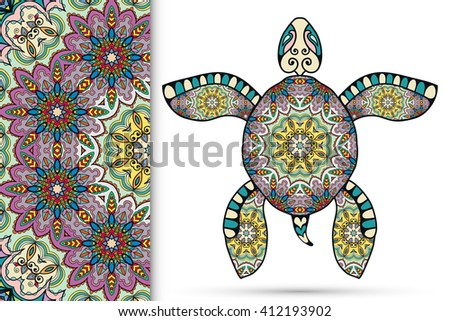 Decorative turtle with ornament and seamless floral geometric mandala pattern, vector tribal totem animal, isolated elements for scrapbook, invitation or greeting card design  - stock vector