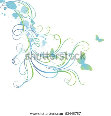 Decorative vector background with butterflies