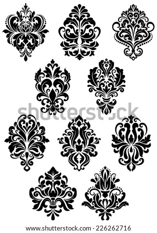Decorative vector black and white foliate arabesque design elements in damask style - stock vector