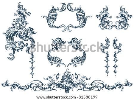 Decorative vector elements, rococo style - stock vector