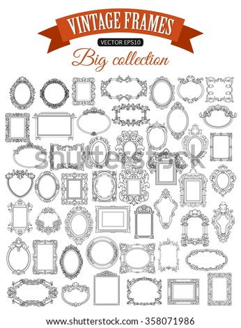 Decorative Vector Frame Set with place for text. Vintage Border. Vintage Picture Frame. Retro Vector Frame. Antique Frame.  - stock vector