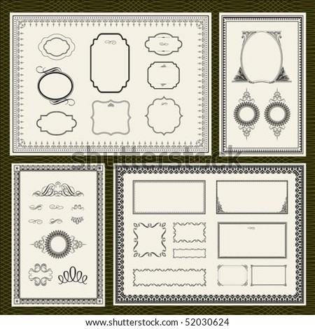 Decorative vector frame set, with seamless background pattern - stock vector