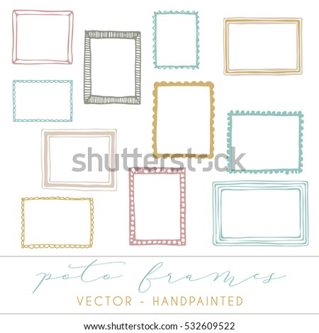 Decorative Vector Frames Photo Frames Handpainted Stock Photo (Photo ...