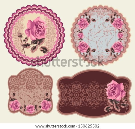 Decorative vector labels (set). Ornamental summer floral stickers (roses). Shabby Chic.  - stock vector