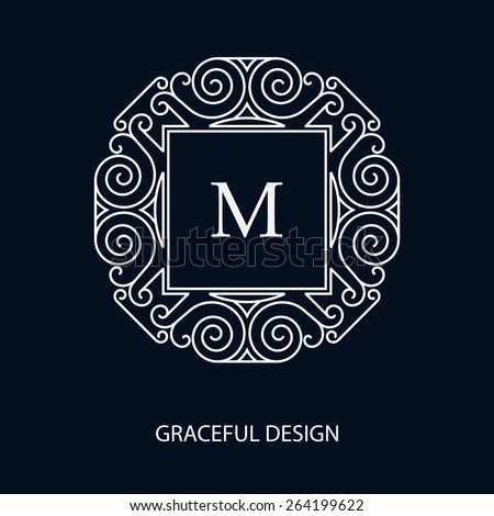 Decorative vector monogram. Element for logo design, place for text. Vector illustration. - stock vector