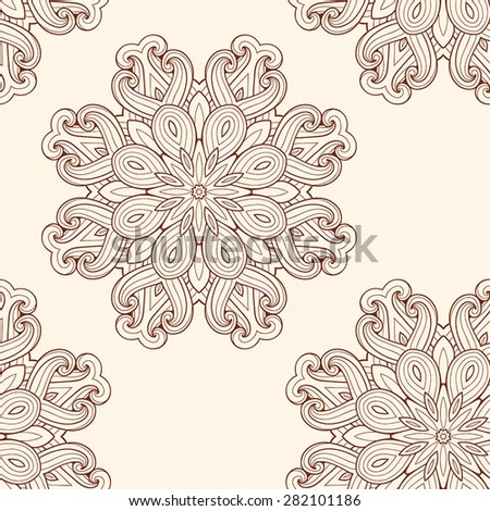 Decorative vector seamless pattern with round ornament