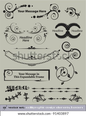 Decorative Vector Set:  Calligraphic Design Elements, and Borders to Embellish Your Designs. - stock vector