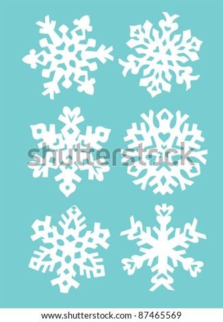 Decorative vector Snowflakes hand paper cut 2 - stock vector