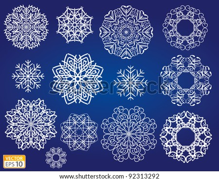 Decorative vector Snowflakes set - winter series clip-art - stock vector