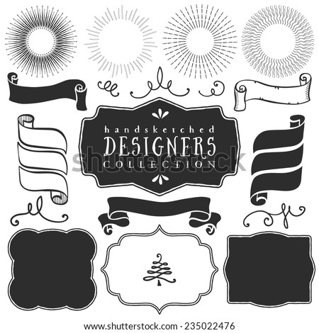 Decorative vector templates and elements for design of logos and badges in vintage style. - stock vector