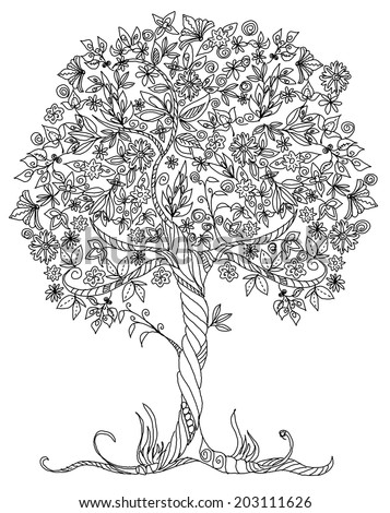 Decorative vector tree with flowers  - stock vector