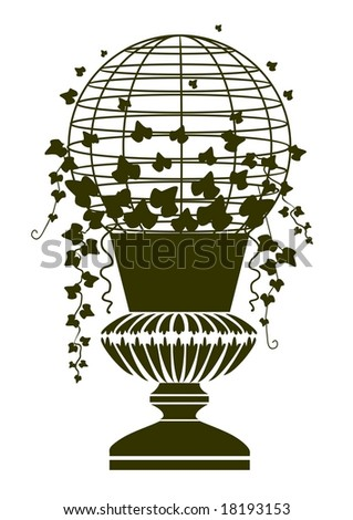 Decorative vector vase and ivy white background - stock vector