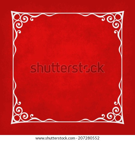 Decorative vintage frame silhouette with separated corners. You can easily change color and aspect ratio of frame. Illustration has red grunge background. - stock vector