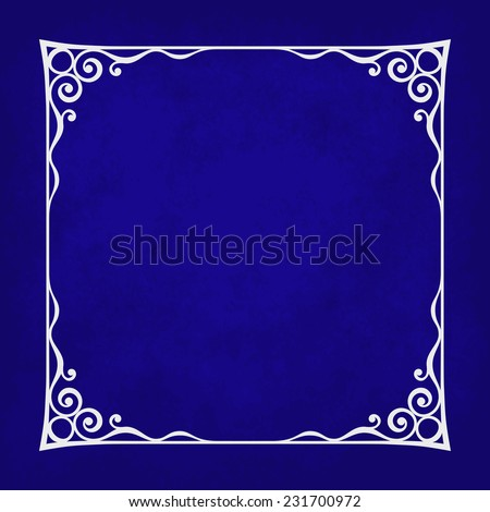 Decorative vintage frame silhouette with separated corners. You can easily change color and aspect ratio of frame. Illustration has blue grunge background. - stock vector