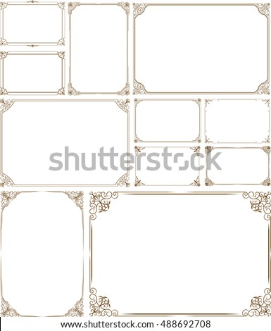 Decorative vintage frames and border set,photo , Gold photo frame with  corner thailand line