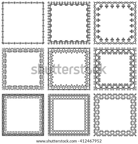 Decorative vintage frames and borders set vector - stock vector