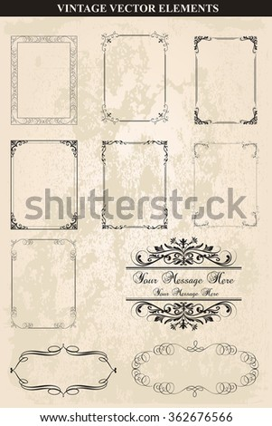 Decorative vintage frames and borders set vector.Abstract vintage frame design in various styles.Vector Vintage Ornament  - stock vector