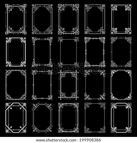 Decorative vintage frames isolated on black background - stock vector