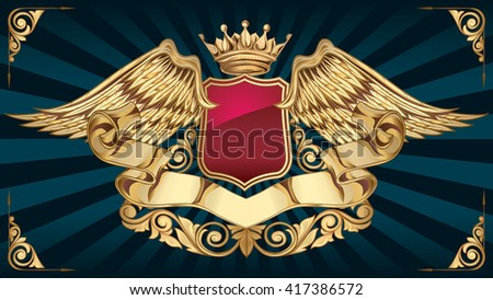 Decorative vintage golden insignia