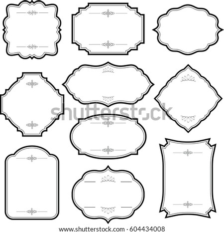 Decorative Vintage Graphic Frames Borders Set Stock Vector 604434008 ...