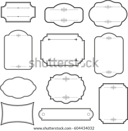 Decorative Vintage Graphic Frames Borders Set Stock Vector 604434032 ...