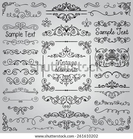 Decorative Vintage Hand Drawn Doodle Design Elements. Frames, Dividers, Swirls. Vector Illustration - stock vector