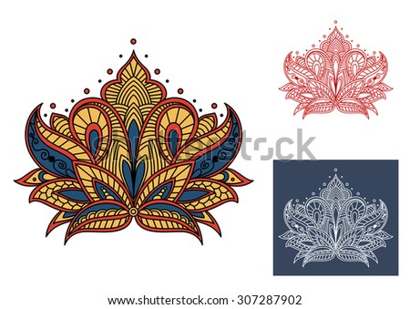 Decorative vintage isolated paysley flower with indian and persian floral motifs - stock vector
