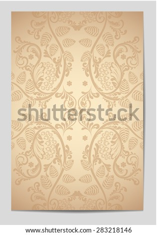 Decorative vintage old page. Flayers, cards, greeting cards, gift cards. Vintage pattern, ethnic style, folklore, traditional, book. - stock vector