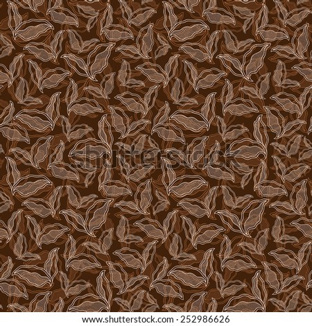 Decorative vintage ornamental seamless spring pattern. Endless elegant texture with leaves. Tempate for design fabric, backgrounds, wrapping paper, package, covers