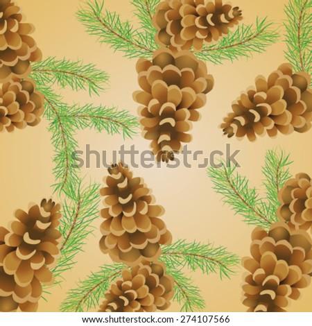 Decorative wallpaper with pine cones - vector illustration. - stock vector